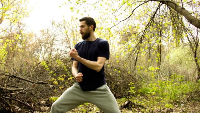 若い男は、森の湧き水で空手の練習します。 ビデオ