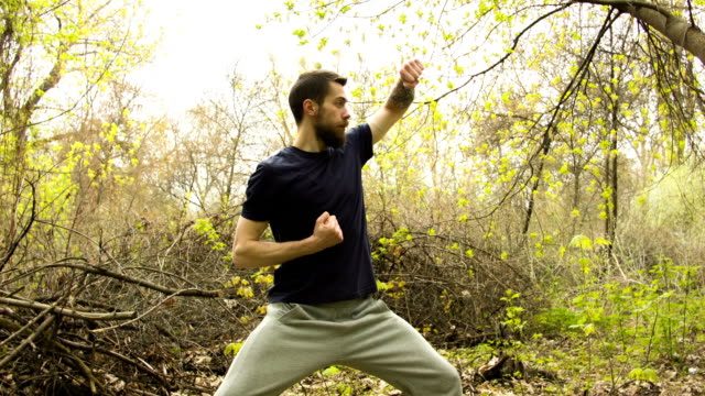 Young man practicing karate in the spring forest.