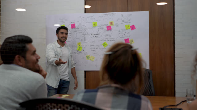 Young man presenting a business plan to his colleagues looking very enthusiastic and smiling