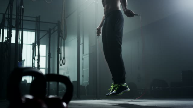 Young man skipping rope video