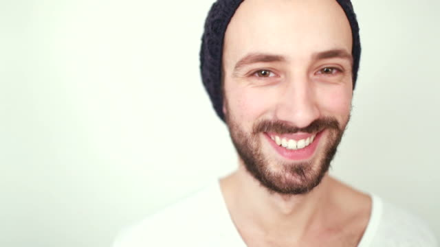 Young man smiling portrait video