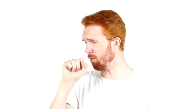 Young man suffering from a bad cough , portrait white backgroung Young man suffering from a bad cough , portrait white backgroungTalented Man, Creative Designer, freelancer, employee, worker emphysema stock videos & royalty-free footage