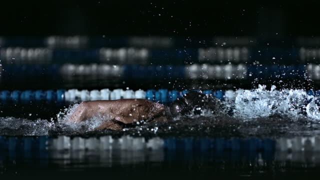 vídeos de stock, filmes e b-roll de young man swimming front crawl - persistência