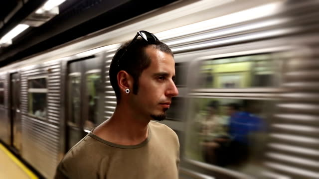Young Man Waiting for Subway Train video