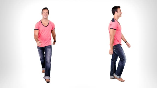Young man walking. Alpha matte. 2 in 1. Casual man walking with alpha matte. Lateral and front view. Full HD. Created exclusively for iStock.  full length stock videos & royalty-free footage