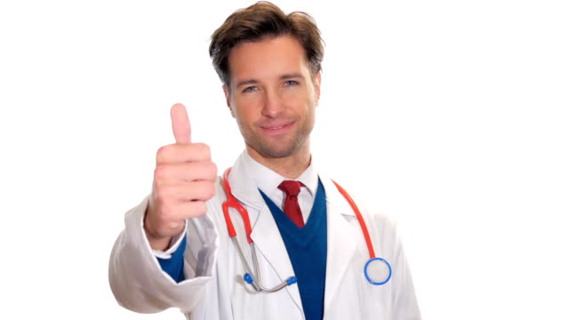 Young medical doctor giving the thumbs-up video