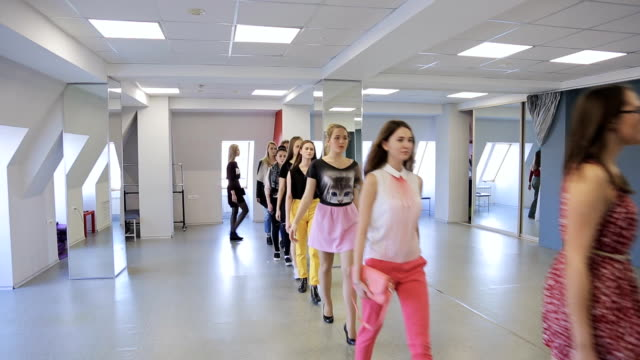 Young models walk in one line to train before going on stage video