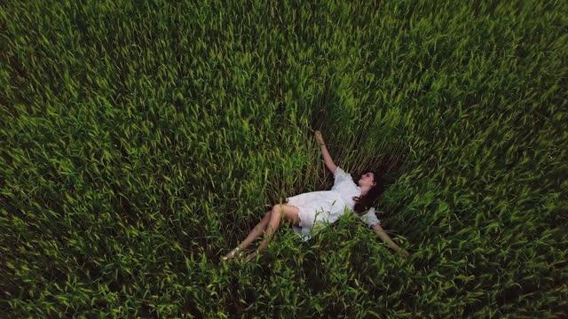 vídeos y material grabado en eventos de stock de joven chica romántica moderna con vestido blanco con el pelo castaño relajándose en el gran campo de trigo amarillo verde en verano. dron aéreo 4k - brazo humano