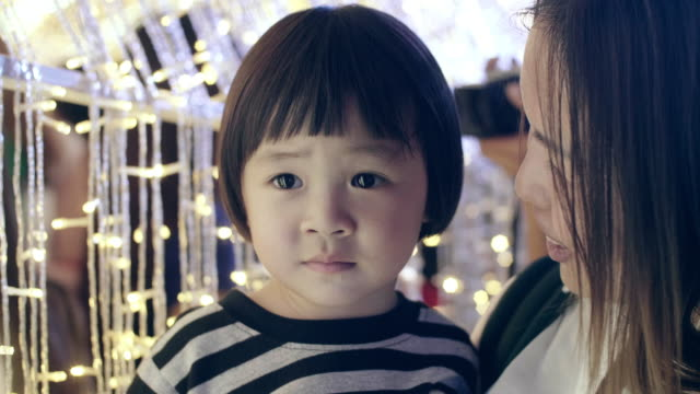 Young Mother And Baby Girl Enjoyment In Christmas Festival video