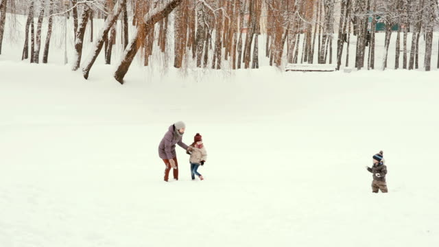 Young mother with her children playing and having fun in the snow video