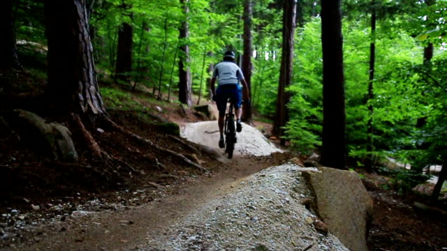 Young mountain biker riding a downhill trail in forest video