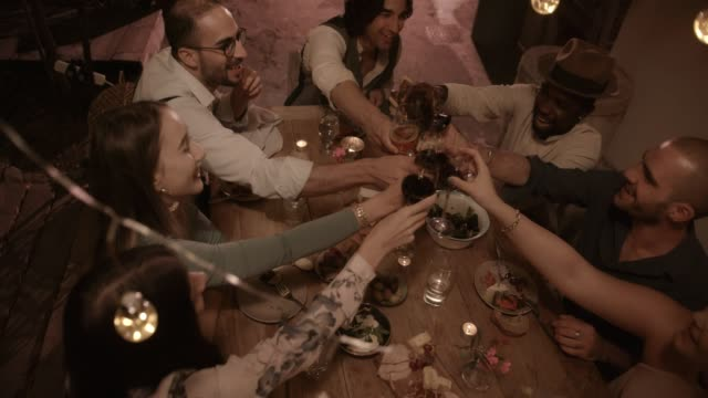 Young multi-ethnic friends toasting at elegant rustic dinner party video
