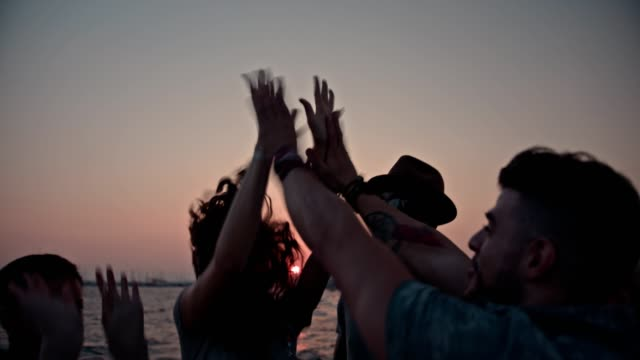 Young multi-ethnic hipster friends giving high-fives at the beach video