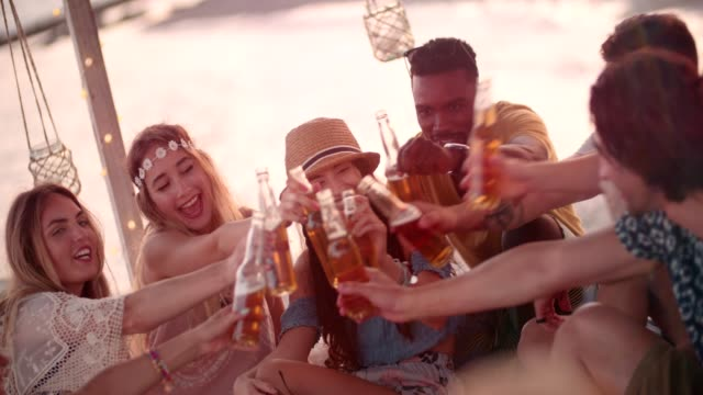 Young multi-ethnic hipster friends toasting with beer at beach party video