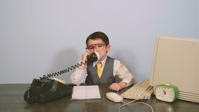 young nerd boy at it help desk - communication problems stock videos & royalty-free footage