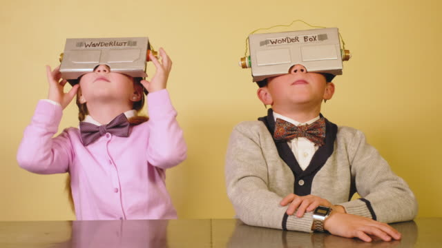 Young Nerds Play with Homemade Virtual Reality Headset