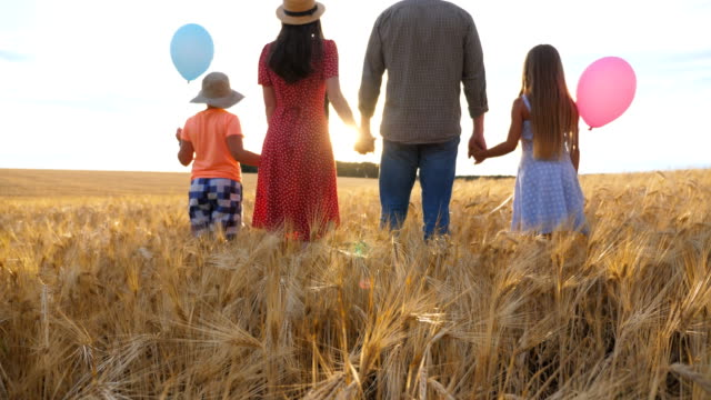 Young parents with kids holding hands of each other and standing on the barley meadow at sunset. Happy family with two children spending time together at wheat field and enjoying nature. Rear view