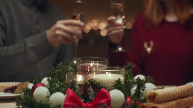 Young people celebrate Christmas in their country house. They drink champagne and laugh.
