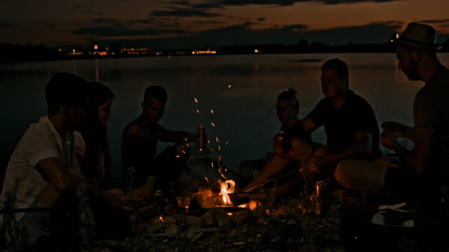 stockvideo's en b-roll-footage met slo mo jonge mensen drinken door een kampvuur aan het meer - 25 29 jaar