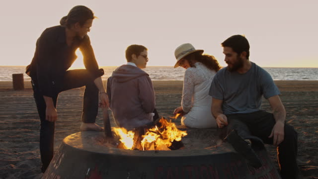 Young People Hanging Out at Beach Bonfire - video