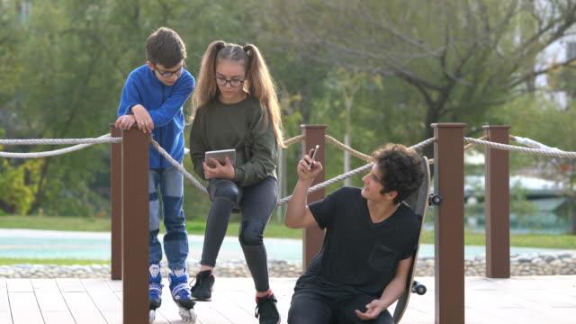 若い人々 と公園で楽しく - 兄弟点の映像素材/bロール