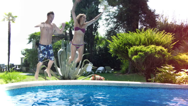 Young people having fun at the pool (Compilation) video