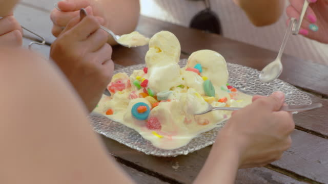 Young people having fun on the beach. Young people prepare for eat ice cream. jp201806 stock videos & royalty-free footage