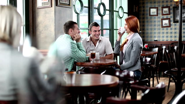 Young people in a cafe. video