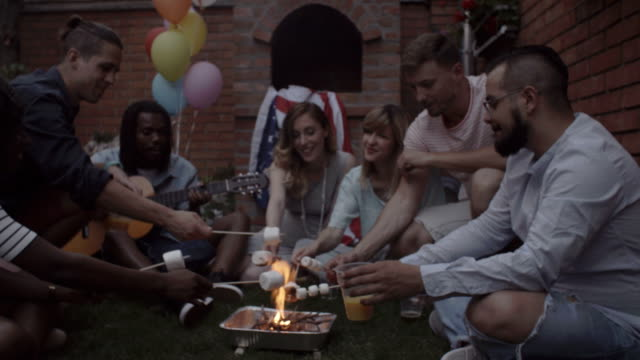 HD: Young People Singing and Roasting Marshmallows. video