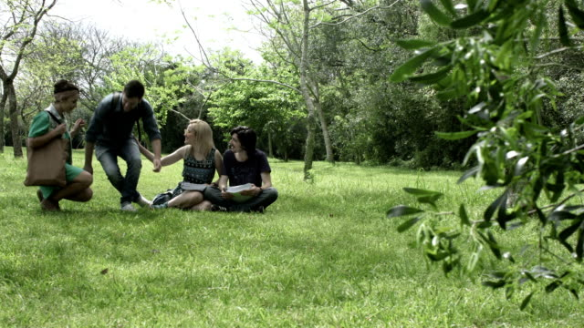 Young people studying video