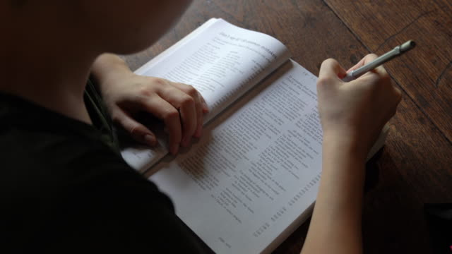 Young person studying english grammar at home .