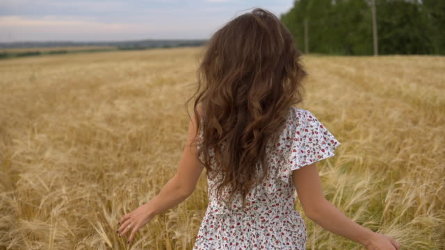 Young pretty woman in dress running in field. Smiling girl on golden meadow.
