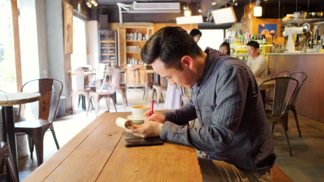 Young Professional Man Working in a Small Coffee Shop