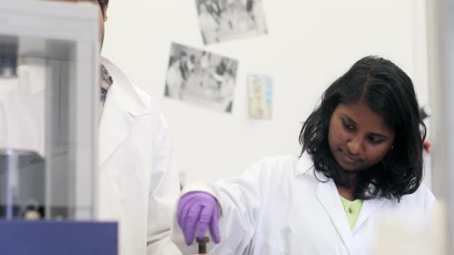 vídeos de stock, filmes e b-roll de jovens pesquisadores preparar amostra científica para a utilização - amostra científica