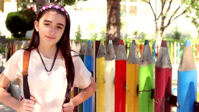 Young schoolgirl back to school video