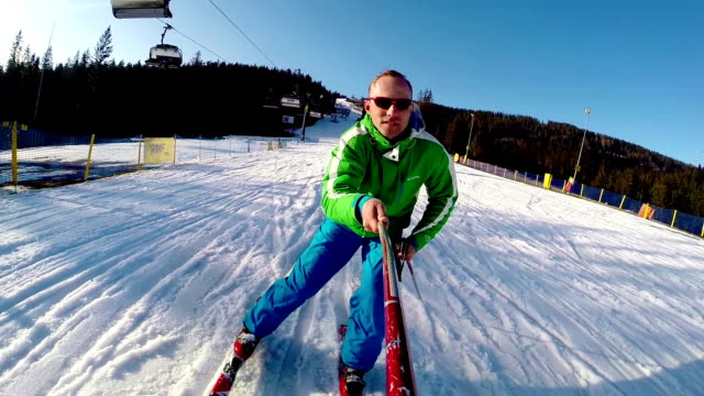 young skier with onboard camera footage - winter austria train bildbanksvideor och videomaterial från bakom kulisserna