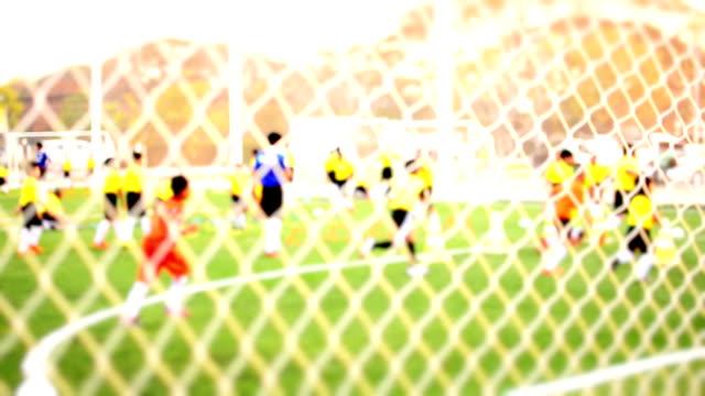 vídeos de stock e filmes b-roll de jovem equipa de futebol de marcar um golo e celebrar - campeão soccer football azul