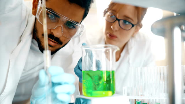 young students of chemistry working in laboratory - chemistry stock videos and b-roll footage