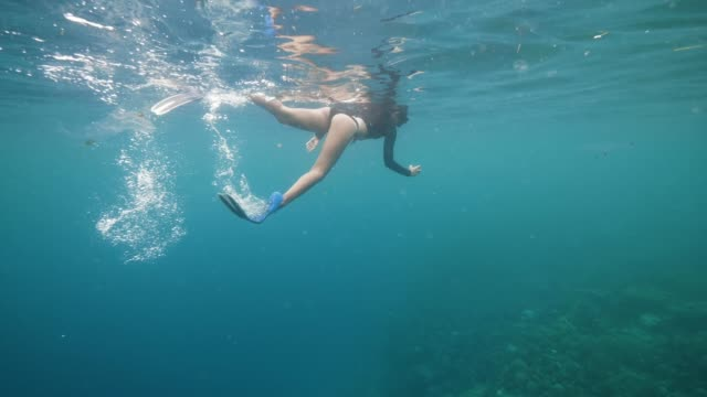 A young tourist snorkeling in the ocean shooting fishes and corals with phone.