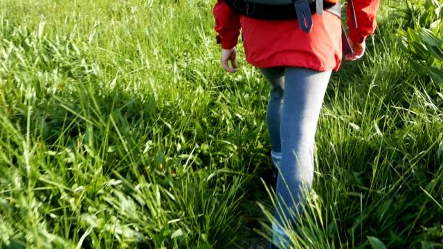 bir dağ yolda yürüyen bir genç turist. - uzun adımlarla yürümek stok videoları ve detay görüntü çekimi