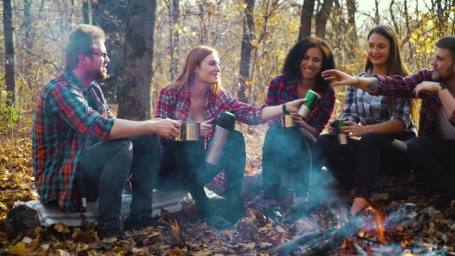 Young tourists sitting with thermo mugs by fire in autumn forest video