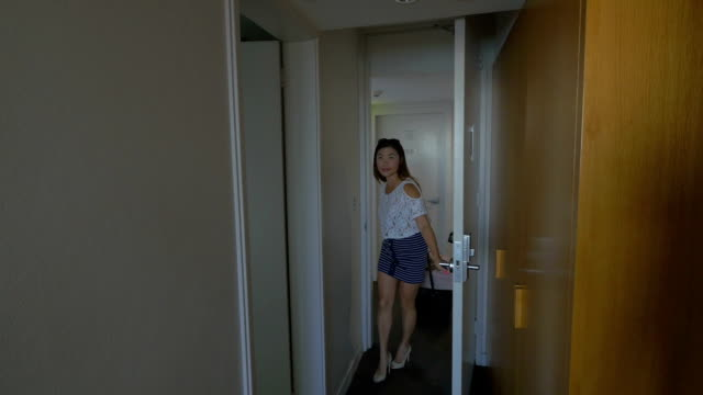 Young Traveler Arriving At A Hotel Room video