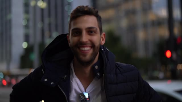 Young Traveler Portrait at Night on City video