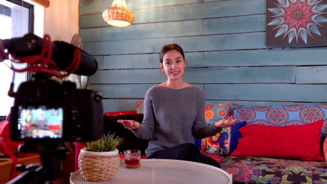 Young vlogger  recording daily vlog