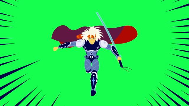 Young Warrior Runs Asia Cartoon Style video