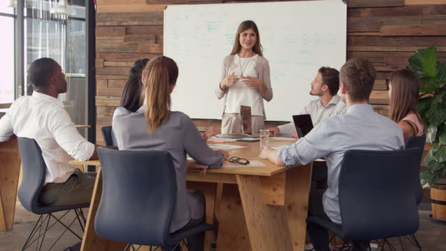 Young white woman giving presentation to business colleagues - vídeo