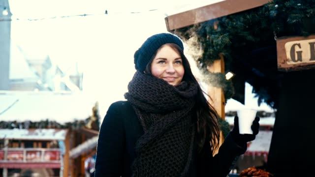 Young Woman at Christmas Market video