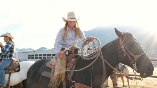 Young Woman Cowgirl on a Horse video