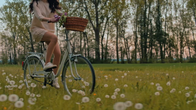 SLO MO WS TS Young woman cycling through meadow