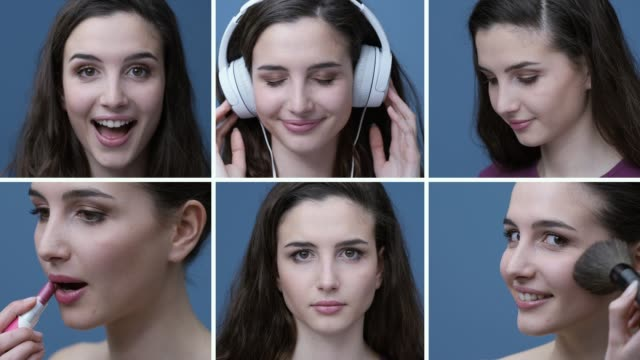 Young woman daily routine and expressions Young girl daily routine, she is applying makeup, smiling and listening to music: same woman with different expressions and poses mosaic stock videos & royalty-free footage